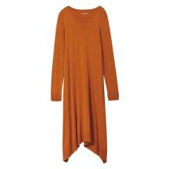 EXCEPTION/例外 一字领羊毛柔软舒适中长款连衣裙 不规则下摆长裙-女士连衣裙图片