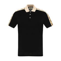 GUCCI/古驰 20年春夏 饰互扣式G条纹Polo衫 男性 黑色 男士短袖T恤 598949_XJB0Q_1082图片