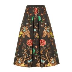 【19秋冬】ANTONIO  MARRAS/ANTONIO  MARRAS 高腰 牡丹花卉针织 黑色 A字裙 女士半身裙图片