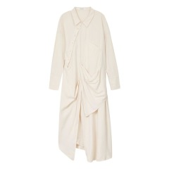EXCEPTION/例外 原创设计秋冬桑蚕丝长款衬衫连衣裙-女士连衣裙图片