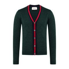 GUCCI/古驰服装 男款红色滚边羊毛开衫 长袖V领男士针织衫/毛衣 408146Z596A图片