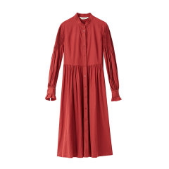 EXCEPTION/例外 原创设计19年秋冬新款棉毛混纺打条工艺泡泡袖衬衫连衣裙-女士连衣裙图片