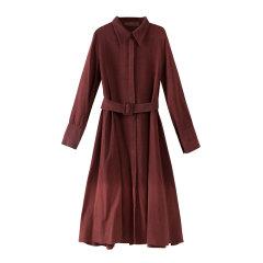 EXCEPTION/例外 原创设计19年秋冬新款桑蚕丝翻领收腰衬衫连衣裙-女士连衣裙图片