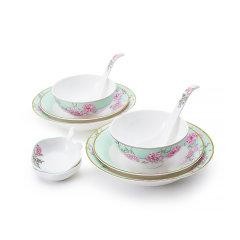 Miracle Dynasty/玛戈隆特 中国花园 10头/16头骨瓷餐具2-4人份家用碗盘碟勺餐具套装 礼品礼盒包装图片