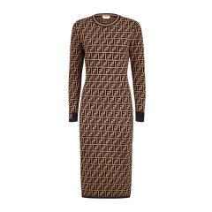 Fendi/芬迪 20春夏 女士印花聚酯纤维混纺圆领长袖经典款时尚修身连衣裙图片