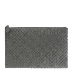 Bottega Veneta/葆蝶家 男士啡色羊皮编织商务休闲大号手拿包图片
