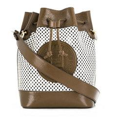 FENDI/芬迪 19秋冬 女士咖色拼色牛皮老花LOGO标水桶时尚手提包单肩包图片