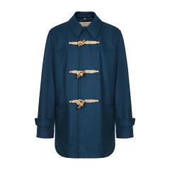BURBERRY/博柏利  深蓝色羊毛混纺中长款牛角扣男士大衣 必备风衣 男装 男士外套 40002861图片