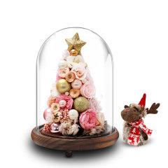 JoyFlower圣诞节礼物永生花圣诞树玻璃罩礼盒图片