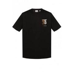 BURBERRY/博柏利 2020早春新款纯色LOGO胸标棉质男士短袖T恤黑色 8023785-A1189图片