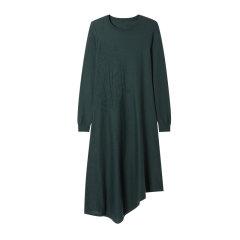 EXCEPTION/例外 2019秋冬保暖提花圆领不对称连衣裙-女士连衣裙图片