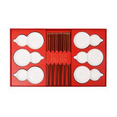 JIANGYI/匠艺 合家福禄礼盒 红木筷子配白瓷碟家用六件套 中秋节送礼自用图片