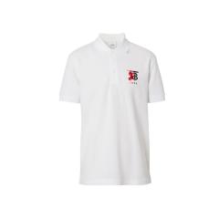 BURBERRY/博柏利 2020早春新款字母胸标POLO领纯棉男士短袖T恤白色 8025756-A1464图片