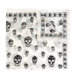 Alexander McQueen/亚历山大麦昆 女士丝质长款骷髅印花图案丝巾围巾 多色可选图片