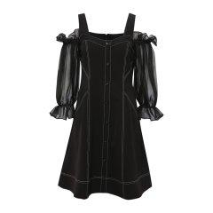 20春夏【DesignerWomenwear】KatyHuangStyle/KatyHuangStyle 露肩口袋长袖女士连衣裙图片