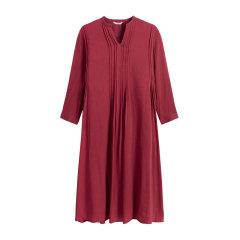EXCEPTION/例外气质条纹提花工艺连衣裙女保暖羊毛民族风裙子-女士连衣裙图片