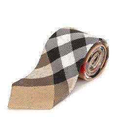 格纹系列 BURBERRY/博柏利 卡其色真丝男士领带