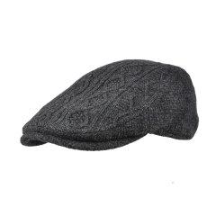 男士冬季鸭舌帽保暖针织帽户外保暖贝雷帽秋冬天毛线帽条纹英伦帽图片
