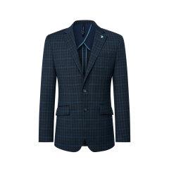 TOMBOLINI/东博利尼20年春夏新品男士西服蓝色格子商务绵羊毛混纺单西XBU51006UDRA图片