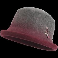 卡蒙全羊毛毡帽卷边帽子女秋冬季英伦毛呢帽青年平顶小礼帽渐变色图片