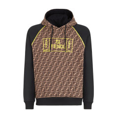 FENDI/芬迪 棕色logo印花加绒连帽 男卫衣 夹克 上装 FY0991 A87E F0JNH图片