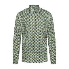 PRADA/普拉达  绿色印花纯棉男士长袖衬衫 男装图片