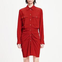 MO&Co./摩安珂女士连衣裙2019春季新品尖领衬衫褶皱收腰连衣裙MAI1DRS009图片