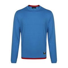 PRADA/普拉达  蓝色棉质圆领男士长袖T恤  男装图片