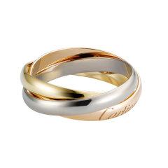 【包税】CARTIER/卡地亚 TRINITY系列 18K金白金黄金玫瑰金三色三环窄款戒指 B4086100图片