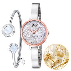 Lotus/路特斯手表 女士小表盘钢带手表手镯套装腕表 手表女【施华洛世奇仿水晶表盘】图片