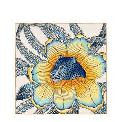 "HERMES/爱马仕 ""Baobab Cat""45厘米卷边斜纹真丝女士方巾丝巾#H893225S 08-E20ss图片"
