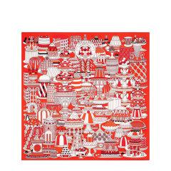 "HERMES/爱马仕 ""法式甜点""90厘米卷边斜纹真丝女士方巾丝巾 H003336S 12-E20SS图片"