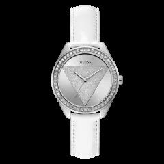 Guess/盖尔斯美国品牌女士石英腕表时尚倒三角满天星水晶边针扣式粉红皮革表带休闲W0884L6图片
