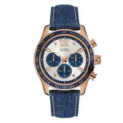 Guess/盖尔斯美国品牌男士石英腕表三眼炫目蓝表盘时尚运动百米防水W0970G3/W0970G4图片