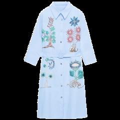 ERDOS/鄂尔多斯 女装 早春 绣花衬衫裙 时尚七分袖 女士连衣裙 本草集系列图片