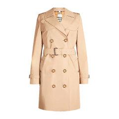 Burberry 博柏利 20秋冬 女装 服饰 肯辛顿版型 棉质双排扣束腰修身长款 女士大衣外套图片