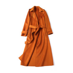 GeleiStory/GeleiStory新款超长利落款手缝双面呢水波纹大衣羊毛外套女7151 女士外套>女士大衣图片