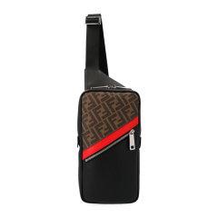 【包税】Fendi/芬迪  男士黑色小牛皮双F印花胸包斜挎包图片
