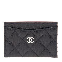 【包税】Chanel/香奈儿 女士经典菱纹黑色牛皮logo标夹层卡包卡片夹图片