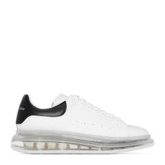 Alexander McQueen/亚历山大麦昆 男士白色黑尾光滑小牛皮透明鞋底系带运动鞋休闲鞋小白鞋低帮板鞋男鞋 604232-WHX98-9061图片