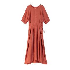 EXCEPTION/例外 春夏纯棉舒适小A版连衣裙女 修身侧腰系带中长裙-女士连衣裙图片