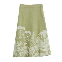 EXCEPTION/例外 原创设计经典伞型印花工艺中国风亚麻A字裙半身裙-女士半身裙图片
