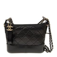 Chanel 香奈儿 女士黑色牛皮金扣logo标时尚流浪包链条包斜挎包图片
