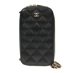 CHANEL 香奈儿 女士黑色牛皮拉链logo标菱形格纹钱包手拿包图片