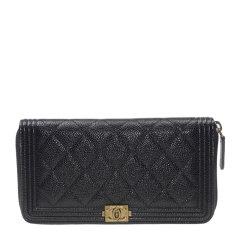 【包邮包税】Chanel 香奈儿 Leboy系列 女士小牛皮金属扣logo拉链菱形格纹钱包手拿包图片