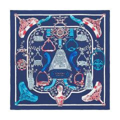 【礼盒装 礼物】HERMES/爱马仕 方形 真丝丝巾 马镫混搭 拼色 90cm图片
