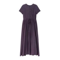 EXCEPTION/例外 时尚修身系带收腰中长裙 气质绣花连衣裙夏民族风-女士连衣裙图片