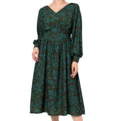 murua/MURUA 女士连衣裙 日系女装V领印花长袖连衣裙收腰灯笼袖长裙 012010301001图片