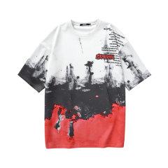 GENANX&闪电潮牌 运动 t恤 情侣装 宽松 2020夏季 嘻哈街头 男女同款 短袖 上衣 C1006图片