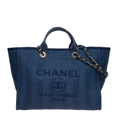 【包邮包税】Chanel/香奈儿 20春夏 女士帆布金扣logo印花条纹链条包单肩包手提包图片
